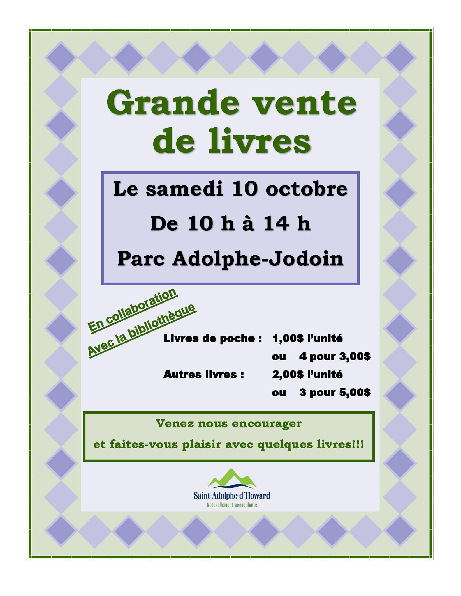 Grande vente de livres - Parc Adolphe-Jodoin